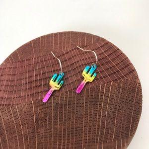 Rainbow Cactus Dangle Earrings